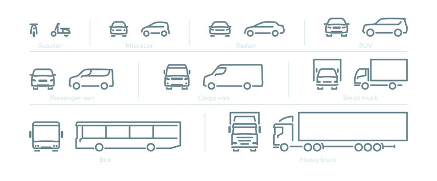 Outline car icons, different types of transportation, front and side view