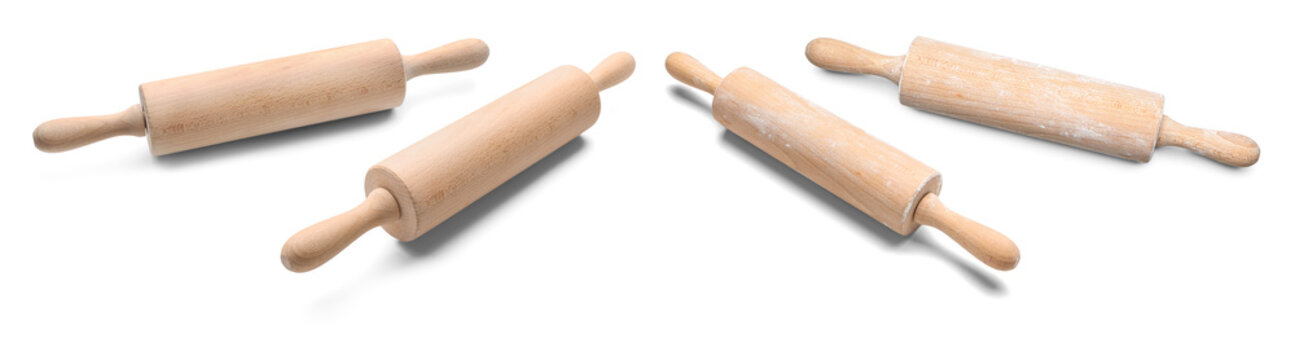 Collage of rolling pin on white background