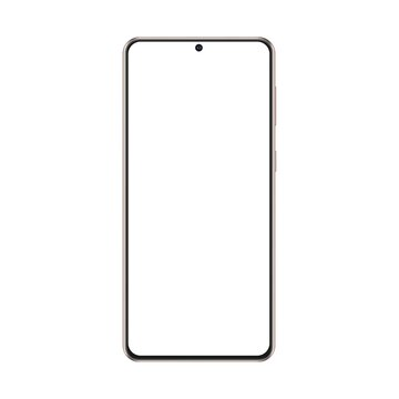Modern Frameless Phone Gold Mockup Isolated on White Background, Front View. Vector Illustration