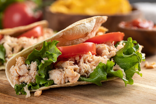 Chicken Taco With Lettuce and Tomato