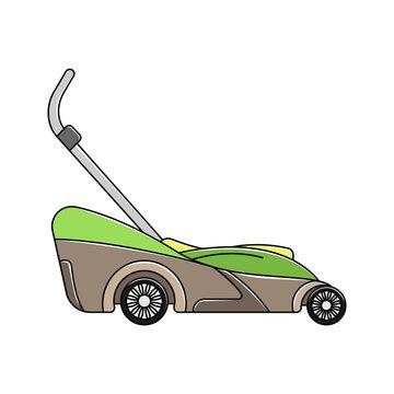 The color lawnmower icon. Garden icon. Logo Lineart