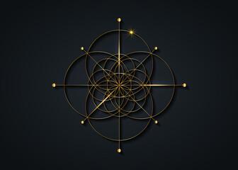 Gold Sacred Geometry, Seed of life symbol. Logo icon Geometric mystic mandala of alchemy esoteric Flower of Life. Vector golden line art tattoo divine meditative amulet isolated on black background
