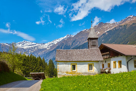 South Tyrol impressions, small chapel near Ratschings, Italy.
