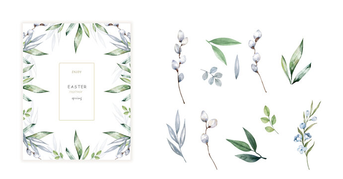 Happy Easter cards with herbal twigs and branches wreath and corners border. Rustic vintage bouquets with fern frons, mistletoe twigs, willow, palm green branches.