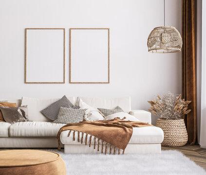 Frame mockup in bright living room design, white sofa in farmhouse boho interior style, 3d render