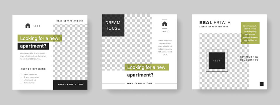 Social media layouts for real estate agency, minimal and simple templates with place for photos, modern and clean design for business