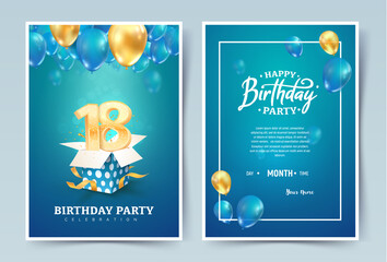 18th years birthday vector invitation double card. Eighteen years anniversary celebration brochure. Template of invitational for print on blue background Wall mural