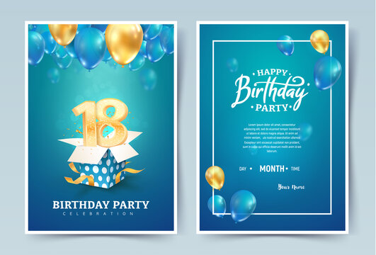 18th years birthday vector invitation double card. Eighteen years anniversary celebration brochure. Template of invitational for print on blue background