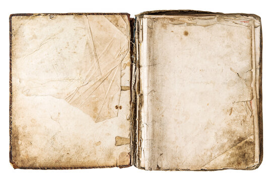 Old book open isolated PNG Used paper texture