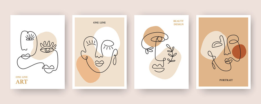 Minimal Abstract backgrounds with Trendy One line drawing faces