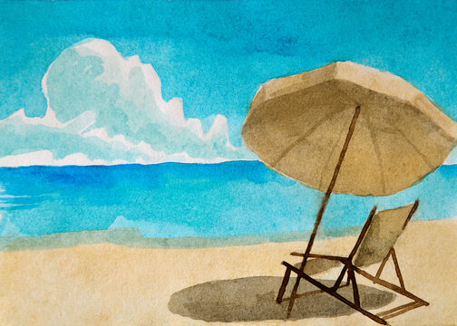 watercolor illustration with umbrella by the sea, with yellow sand and blue sunny sky