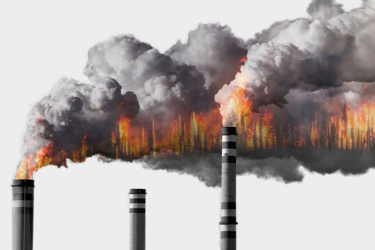 Fossil fuel burning and climate change concept. Double exposure. Forest fire and chimney smoking