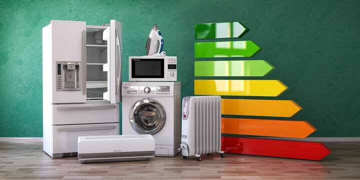 Energy efficiency of home kitchen appliances concept.