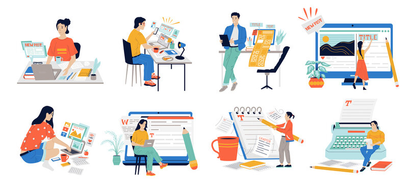 Copywriters. Journalist workflow with cartoon content managers posting text with laptop. Cute people work in publishing house of newspapers and magazines Vector writing and storytelling set of scenes