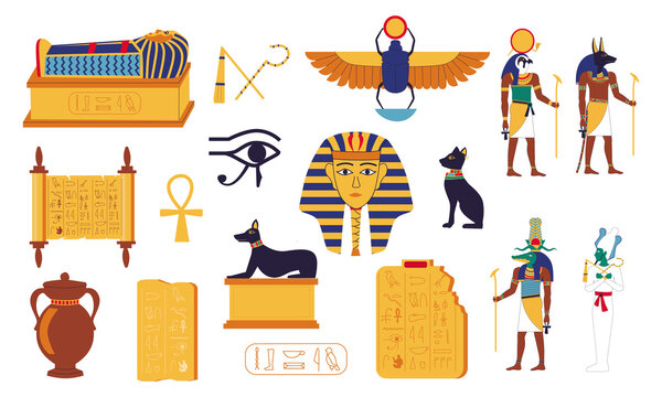 Egypt hieroglyphs. Cartoon Egyptian culture elements. Ancient graves of pharaohs, mythological gods, lettering on stone tablets and papyrus. Religious symbols and sacral animals. Vector historical set