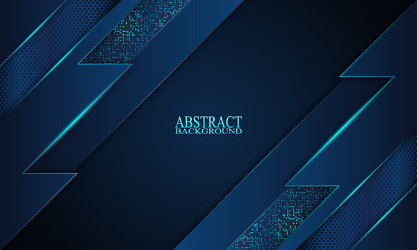 Abstract blue stripes with neon light background.