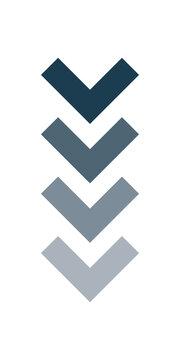 vector image of vertical arrow down wedge