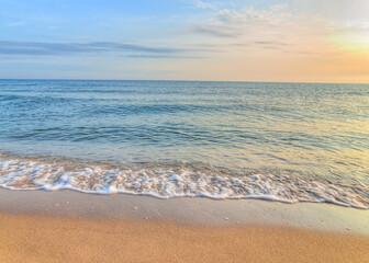 Obraz Amazing colorful sunrise over the Polish Baltic Sea. Beautiful golden sunset hdr over sea with reflection, Morze Bałtyckie, Władysławowo - fototapety do salonu