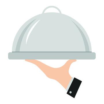 Waiter hand holding empty silver tray dish vector illustration