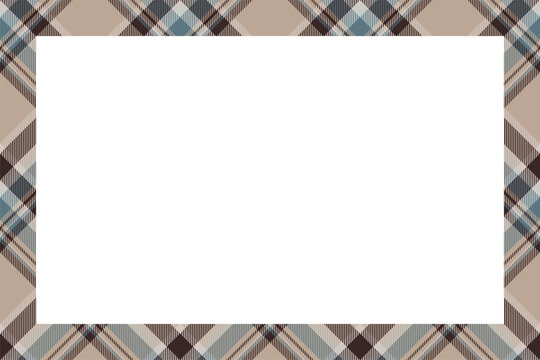 Vintage frame vector. Scottish border pattern retro style. Tartan plaid ornament.
