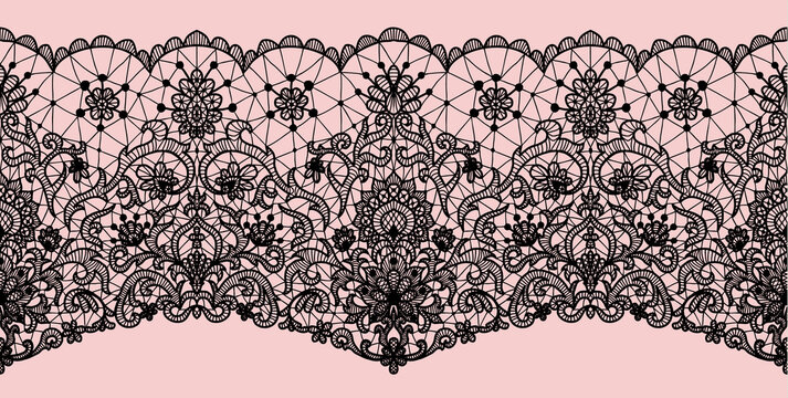 Horizontally seamless black lace background with floral pattern