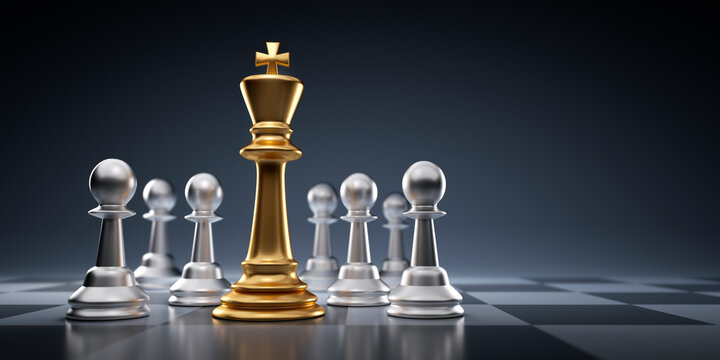 Golden chess king with pawns - Business leader concept - Strategy planning and competition