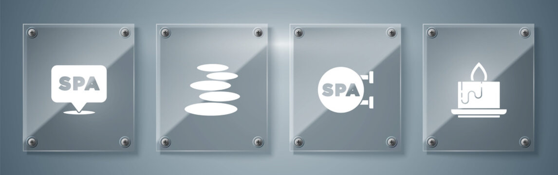 Set Aroma candle, Spa salon, Stack hot stones and . Square glass panels. Vector.