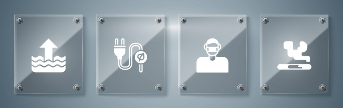 Set Cigarette, Face in protective mask, Electric saving plug leaf and Rise water level. Square glass panels. Vector.