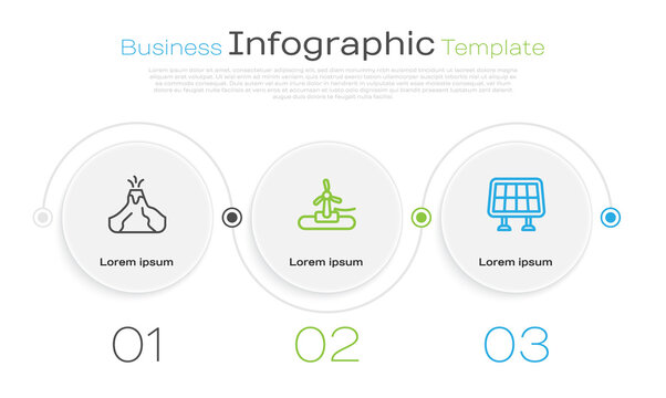 Set line Volcano eruption with lava, Wind turbine and Solar energy panel. Business infographic template. Vector.