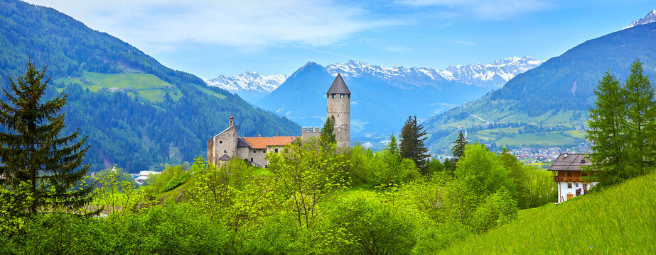 South Tyrol panorama with old castle, near Ratschings, Italy.