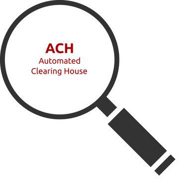 ACH. Automated Clearing House. Text hinter einer Lupe. Isoliert freigestellt vor weißem Hintergrund.