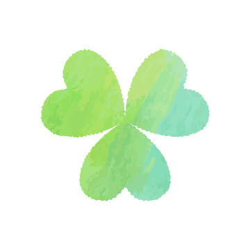 Happy St. Patrick's day watercolor banner. Green clover Shamrock on white background. Vector illustration