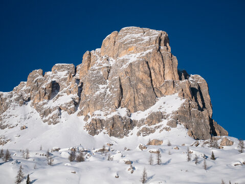 Rocky Mountain of Dolomite rock, mountain with clear sky, Ra Gusela, Colle Santa Lucia, Province of Belluno, Italy