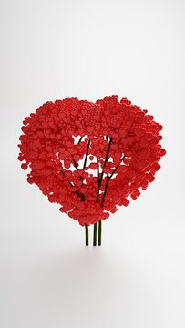 Valentine greeting - Red bush in the shape of a heart, 3D rendering, portrait orientation, 16x9 format