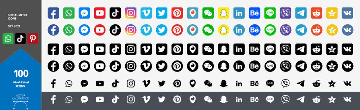 Big Set of Social Media Icons. Most Rated 100 Icons 2021. Facebook, Youtube, Whatsapp, Wechat, Instagram, TikTok, QQ, Weibo, Reddit, Snapchat, Twitter, Pinterest, Qzone, Periscope, Messenger, LinkedIn