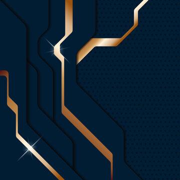 Abstract modern dark blue metallic background. Sci-fi techno style layered plates. Vector illustration