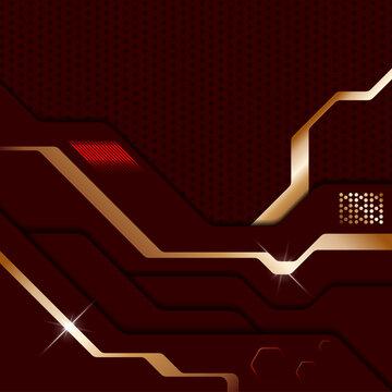 Abstract modern dark red metallic background. Sci-fi techno style layered plates. Vector illustration
