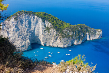 Scenic view of Navagio Bay on the island of zakintos, Greece