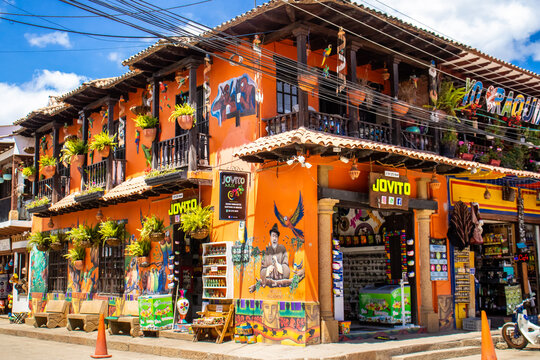 RAQUIRA, COLOMBIA - FEBRUARY 2021. Beautiful houses of the small town of Raquira. The City of Pots, Colombia