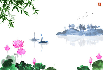 Oriental landscape with lotus flowers, fishing boat, bamboo and island with trees. Traditional oriental ink painting sumi-e, u-sin, go-hua. Hieroglyph - happiness.