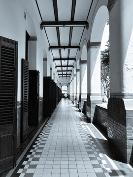 Empty hallway at Lawang Sewu (thousand doors) historical building in Semarang Indonesia