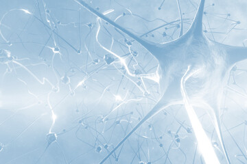 Abstract illustration of neuron cells against blue background