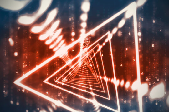 Abstract illustration of red glowing tunnel over data processing against red background