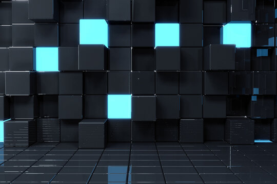Abstract illustration of blue and black 3d cubes texture design background