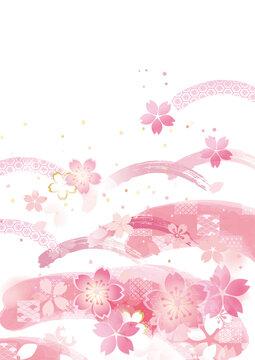 桜の和風背景イラスト