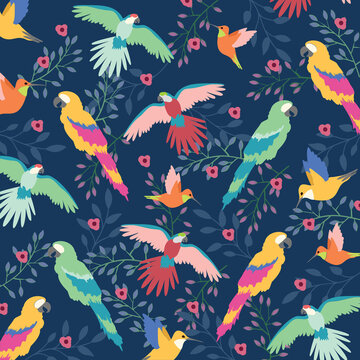 Digitally generated illustration of beautiful tropical exotic parrot birds and floral leaves against