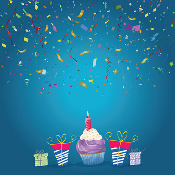 Confetti and birthday cake with one candle over blue background
