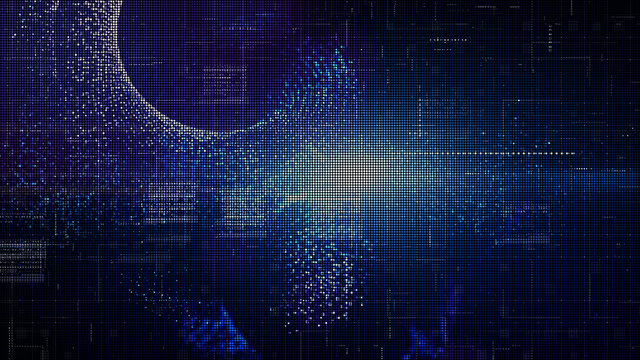 Technology digital abstract background, Digital matrix particles grid virtual reality abstract cyberspace environment background. 3d rendering
