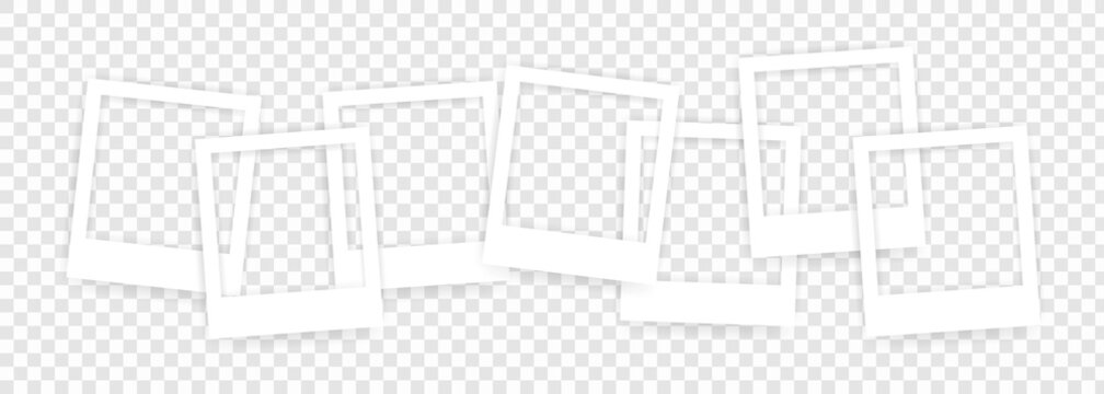 Set of photo frames. Vintage style. Photo realistic vector. Retro Photo Frame Template for your photos. Vector EPS 10. Isolated on transparent background