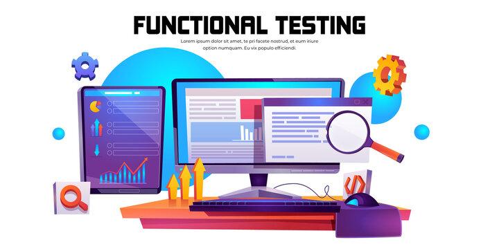 Vector cartoon banner of function test